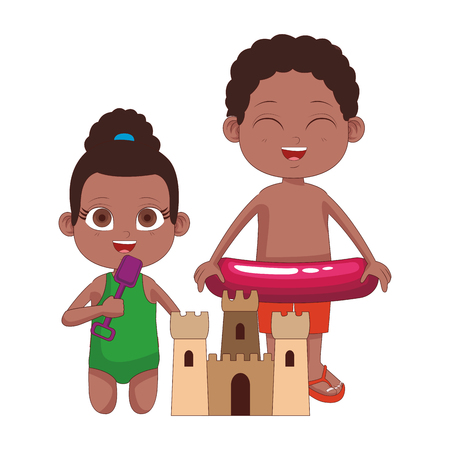 Cute boy with float and girl with sand castle cartoons vector illustration graphic design