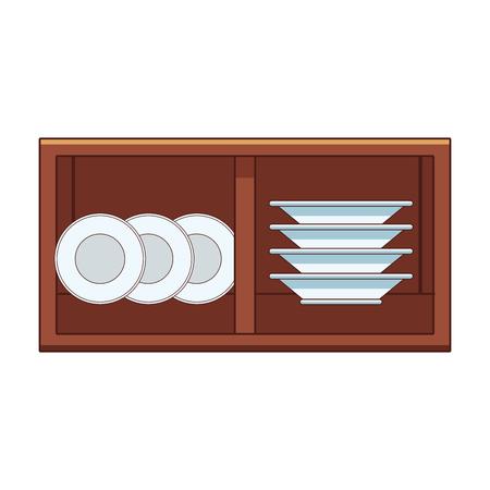 Platos dentro de gabinete de madera, diseño gráfico de ilustración vectorial