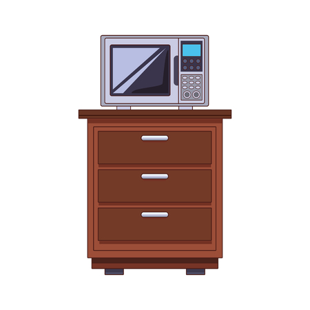 Microwave on cabinet vector illustration graphic design Çizim