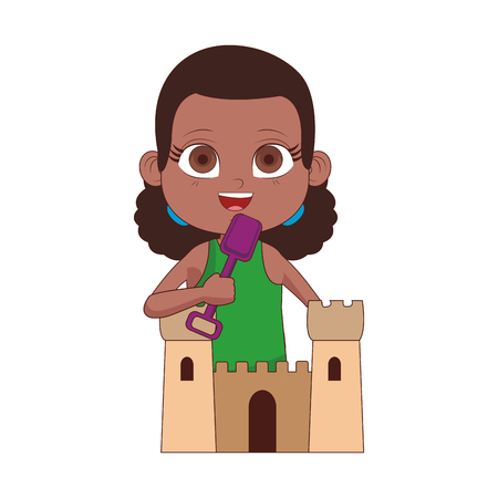 Beautiful girl with sand castle cartoon vector illustration graphic design