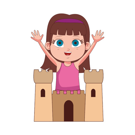Cute girl with sand castle vector illustration graphic design