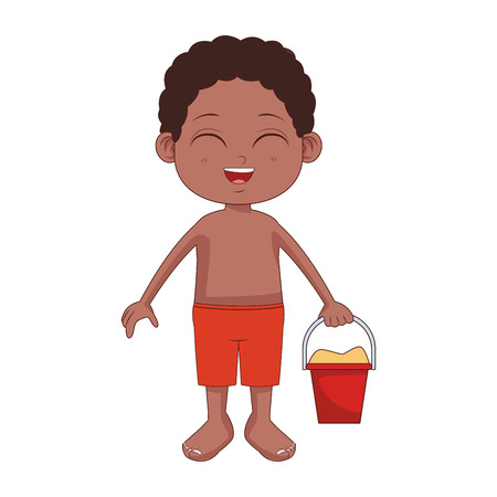 Garçon mignon avec seau de sable et spatule jouets vector illustration graphisme