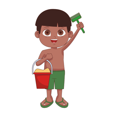 Cute boy with sand bucket and spatula toys vector illustration graphic design Illustration