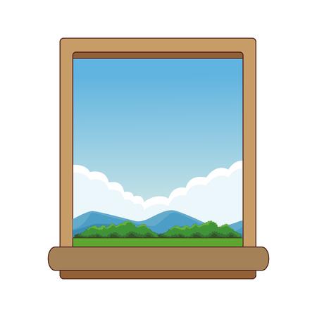 Window and landscape vector illustration graphic design