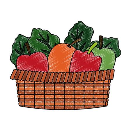 Vegetables and fruits in basket vector illustration graphic design