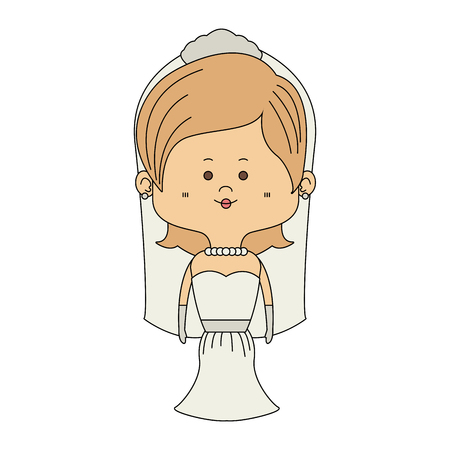 Beautiful midget bride cartoon vector illustration graphic design Illustration