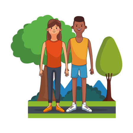 Young and cute couple at park vector illustration graphic design