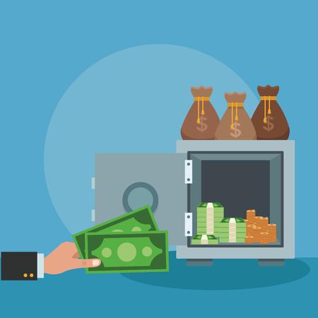 Hand inserting money to strongbox vector illustration graphic design Illustration