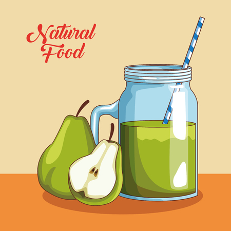 Natural and organic fruits and juice food cartoons vector illustration graphic design