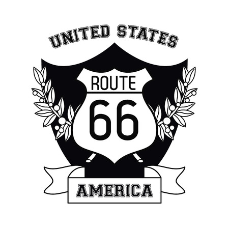USA emblem route 66 sign and ribbon banner vector illustration graphic design