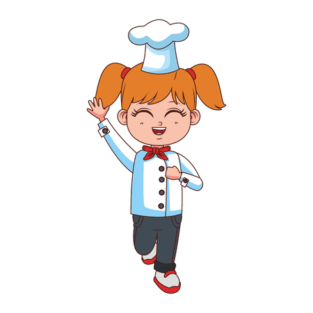 Beautiful girl chef cartoon vector illustration graphic design