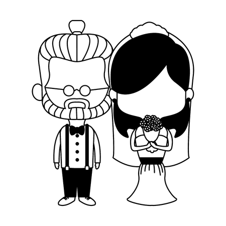 Groom and bride midgets cartoon vector illustration graphic design Vettoriali