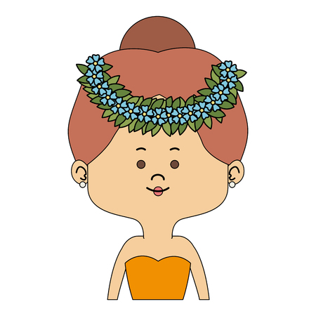 Beautiful midget woman with flowers headband cartoon vector illustration graphic design Illustration