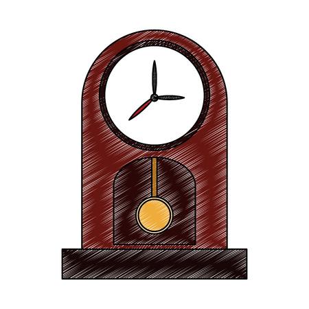 Wooden classic clock vector illustration graphic design