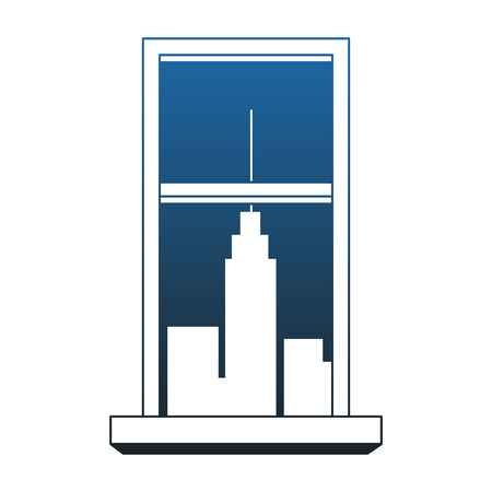 Window with cityscape view vector illustration graphic design