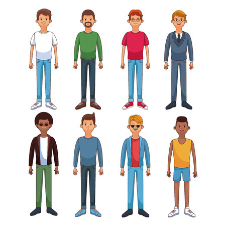 Set of young mens in round icons vector illustration graphic design