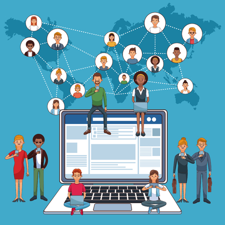 People using laptop to connect to social media and network vector illustration graphic design