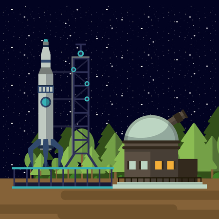 Spaceship base with big telescope and stars vector illustration graphic design