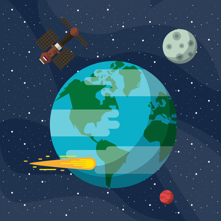 Earth with satellite flying around cartoons vector illustration graphic design Illustration