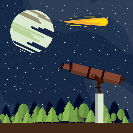 Spaceship base with big telescope on planet vector illustration graphic design