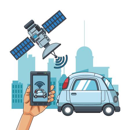 Seguimiento por satélite de un coche en la ciudad desde el diseño gráfico de ilustración de vector de smartphone