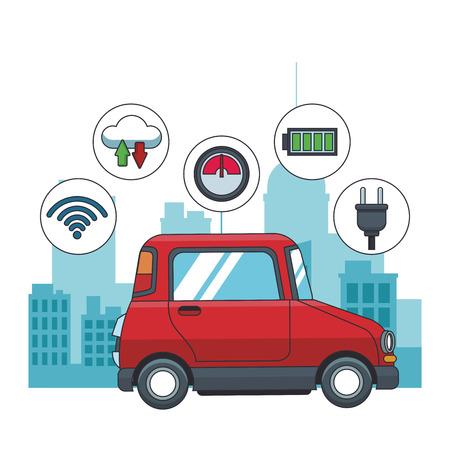 Coche en la ciudad con sistema de seguimiento gps iconos redondos ilustración vectorial diseño gráfico