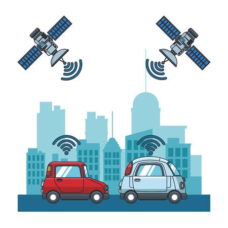Satellites tracking cars at city vector illustration graphic design Иллюстрация