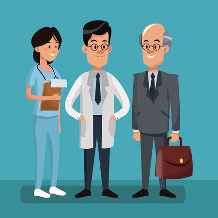 Businessman with doctors cartoons vector illustration graphic design Illustration