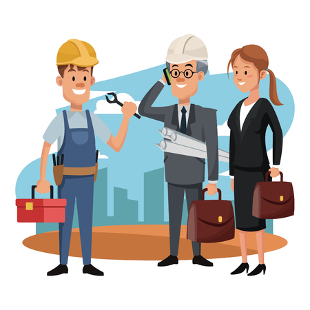 Business architects talking with construction worker vector illustration graphic design