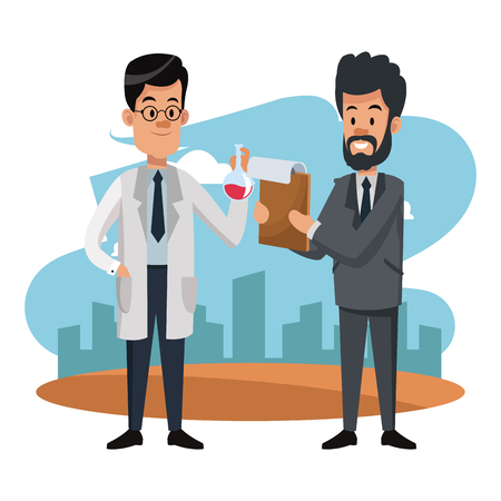 Businessman and scientific at city cartoons vector illustration graphic design Banque d'images - 105425950