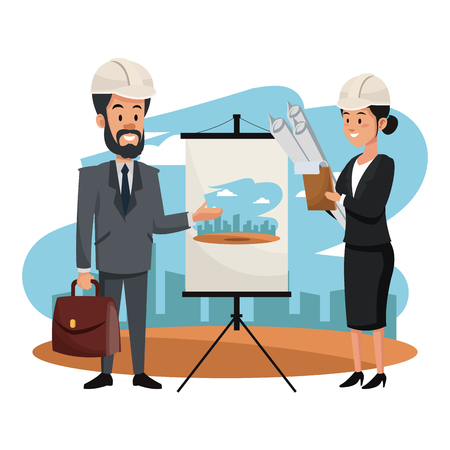 Engineer and woman architect with plans on whiteboard vector illustration graphic design