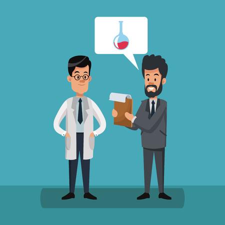 Businessman and scientific at cartoons vector illustration graphic design Banque d'images - 105426029