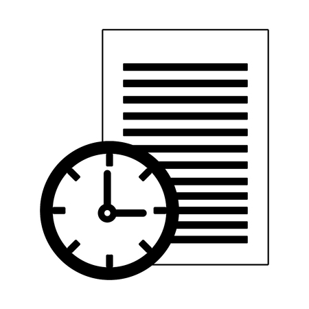 Sheet and clock symbol vector illustration graphic design