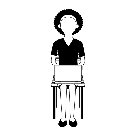 Businesswoman seated on chair using laptop vector illustration graphic design Ilustração