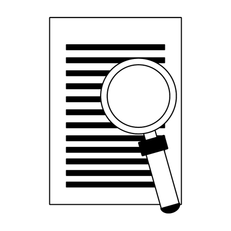 Sheet and magnifying glass vector illustration graphic design