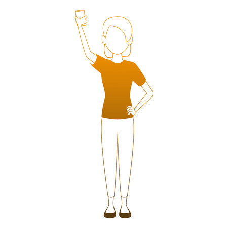 Woman taking a selfie with smartphone vector illustration graphic design