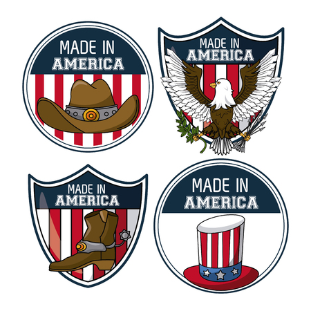 Set of USA emblems collection vector illustration graphic design vector illustration graphic design