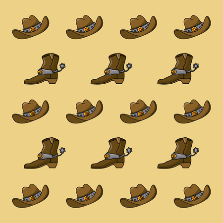 Cowboy hat and boot pattern background vector illustration graphic design