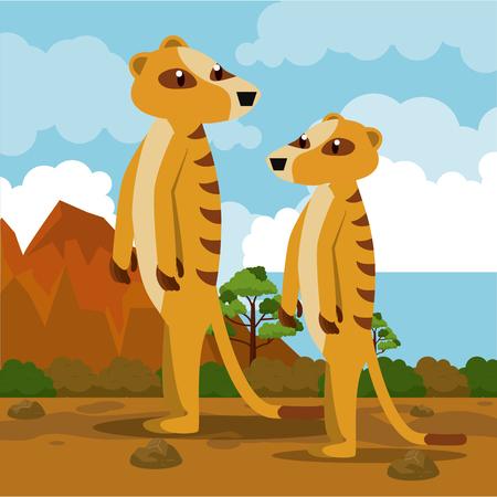 Meerkats in african savanna cartoons vector illustration graphic design Stock Photo