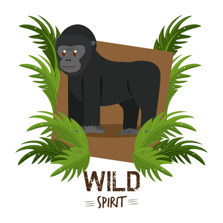 Ape wild african animal cartoon vector illustration graphic design Vectores