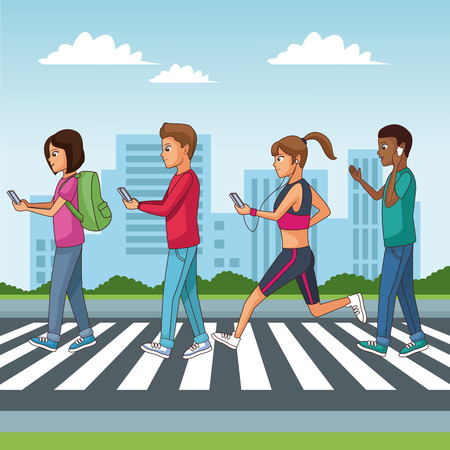 Youngpeople walking on zebra and using smartphone vector illustration graphic design Illustration