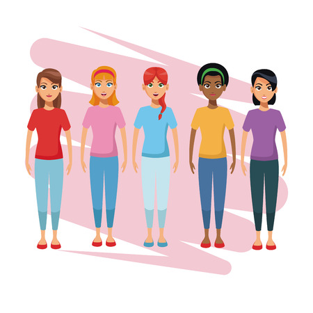 Young womens and mens cartoon vector illustration graphic design
