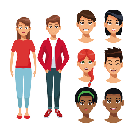 Young womens and mens faces cartoon vector illustration graphic design