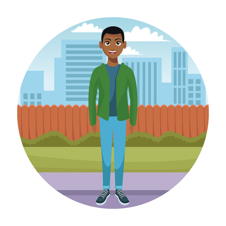 Young man at city round icon cartoons vector illustration graphic design Illustration