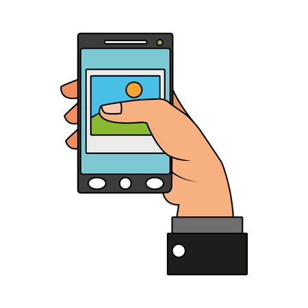 Hand holding smartphone with picture on screen vector illustration graphic design