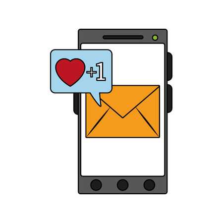 Smartphone with love email received vector illustration graphic design