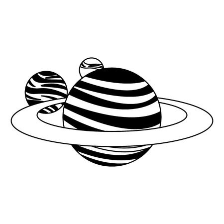 Saturn and planets around vector illustration graphic design Illustration