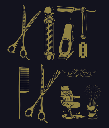 Set of barbershop utensils collection vector illustration graphic design