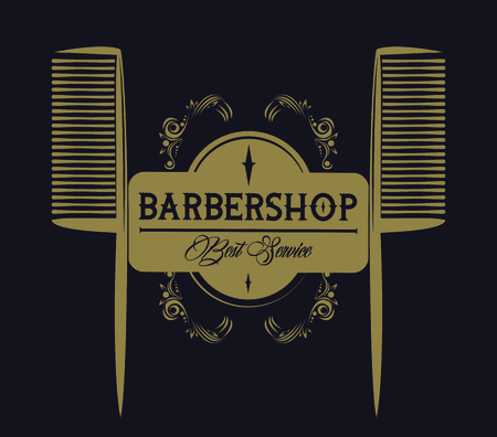 Barbershop vintage emblem with brown and white retro drawings vector illustration graphic design