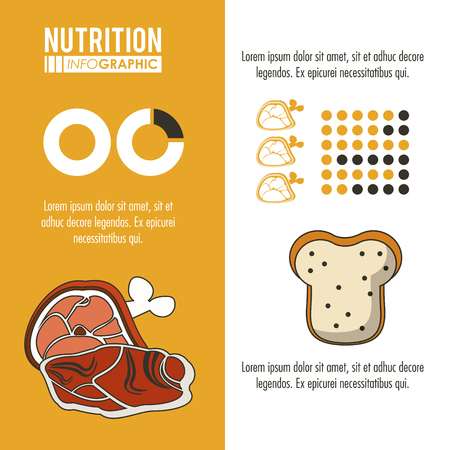 Nutrition and food yellow infographic with statistics and elements vector illustration